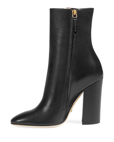 Carly Mid-Calf Globe Bootie, Black