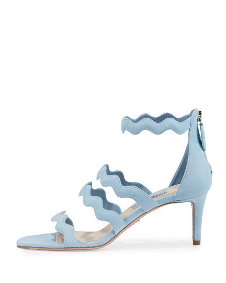 Suede Wavy Strap 65mm Sandal