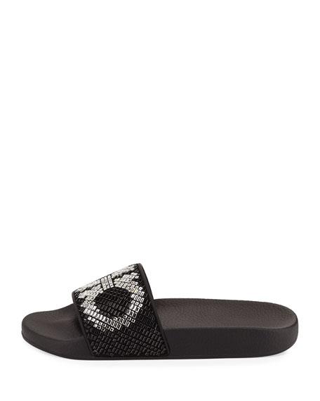 Gancini Flat Slide Sandal, Black/White