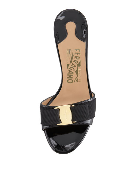 Patent Bow Slide Sandal, Black