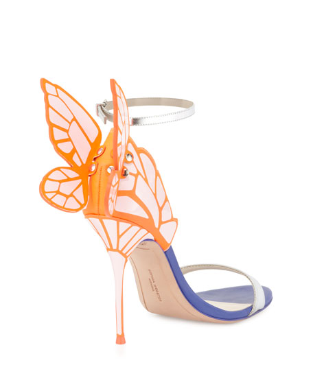 Chiara Butterfly Wing Ankle-Wrap Sandal, Pink/Silver