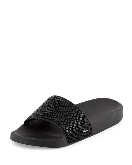 Crystal Slide Sandal, Black