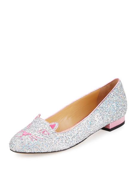 Charlotte Olympia Kitty Glittered Fabric Slipper, Fantasy