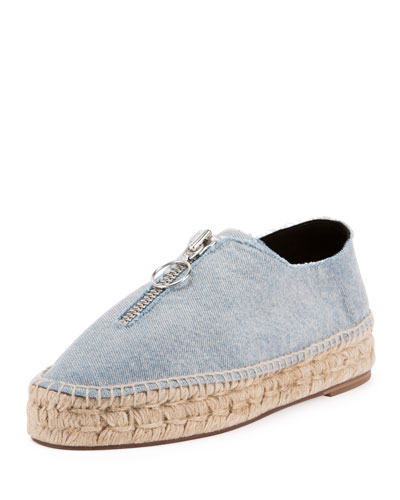 Devon Denim Zip-Front Espadrille, Light Indigo