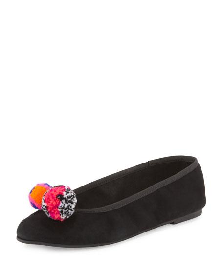 Bo Pompom Suede Ballerina Flat, Black