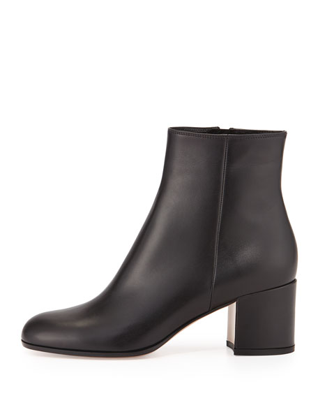e8b240c24adb Gianvito Rossi Vitello Leather Block Heel Ankle Boots