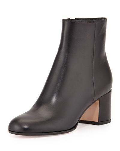 Vitello Leather Block Heel Ankle Boots