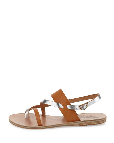 Alethea Multi-Strap Leather Flat Sandal, Natural/Silver