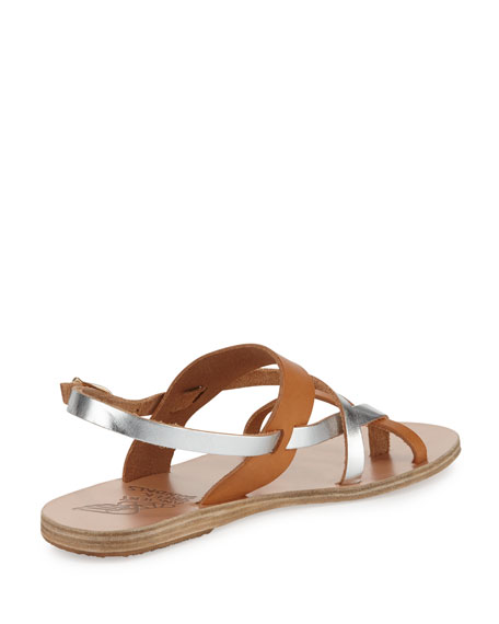 Alethea Multi-Strap Leather Flat Sandal, Natural/Silver
