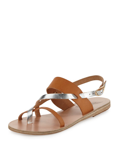 Ancient Greek Sandals Alethea Multi-Strap Leather Flat Sandal,