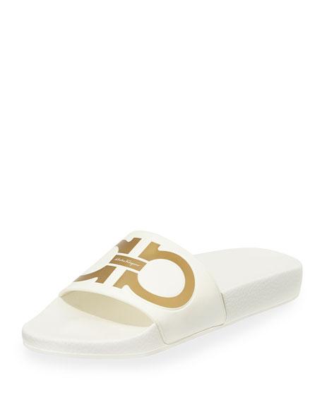 Gancini Flat Slide Sandal, Bianco/Oro