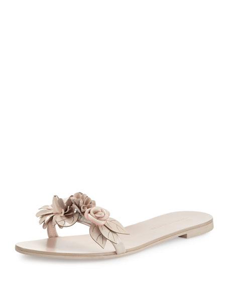 Sophia Webster Lilico Floral Slide Sandal, Nude