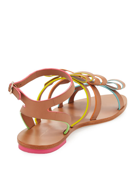 Samara Flat Bow-Detail Sandals, Tan/Multi