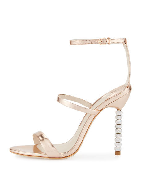 Rosalind Crystal-Heel Leather Sandal, Rose Gold