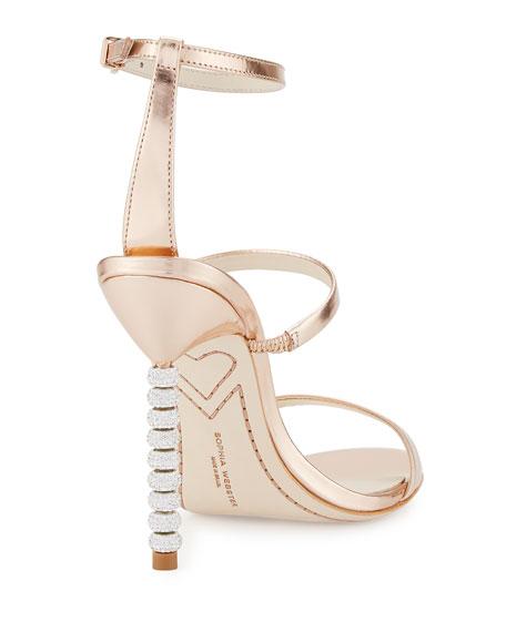 Rosalind Crystal-Heel Leather Sandal, Rose Gold