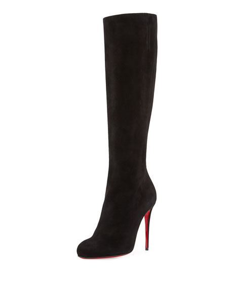Fifi Botta Suede Red Sole Knee Boot, Black