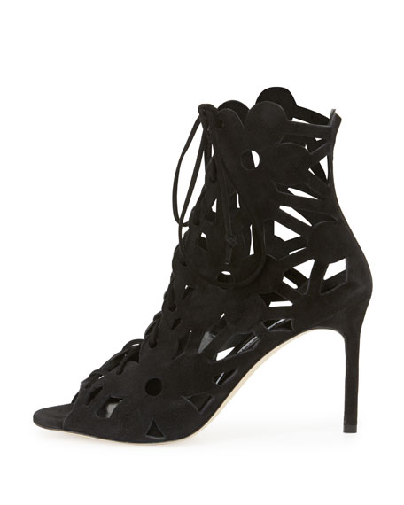Manolo Blahnik Laser Cut Suede Booties clearance new styles store with big discount bOmDCz8KDh