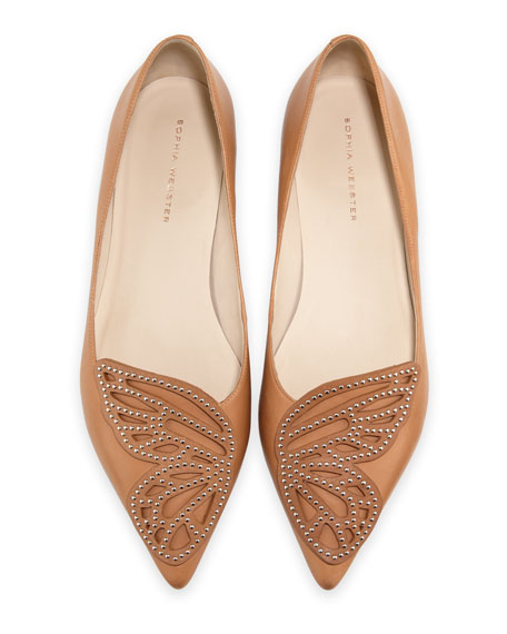 Bibi Butterfly Studded Flat, Tan