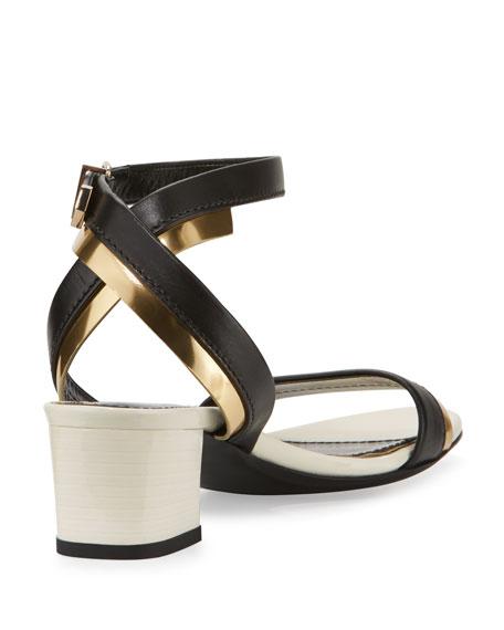 Mirror Cube-Heel 45mm Sandal, Black/Gold