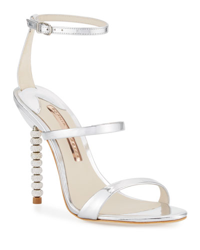 Rosalind Crystal-Heel Leather Sandals  Silver