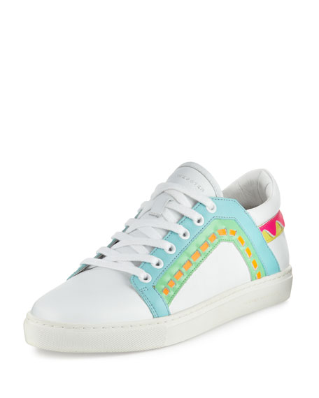 Riko Leather Low-Top Sneaker, White/Spearmint