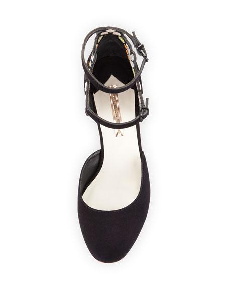 Liliana Embroidered Suede Block-Heel Pump, Black