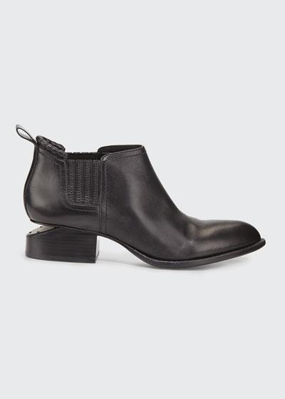 Kori Leather Tilt-Heel Boot, Black