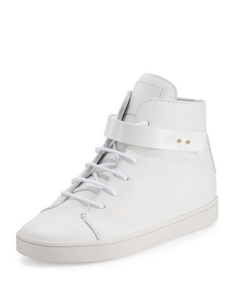 Giuseppe Zanotti Breck Leather High-Top Sneaker, White