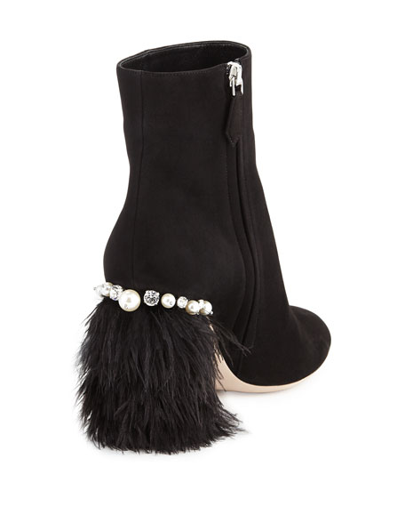 Suede Feather-Heel Ankle Boot, Nero