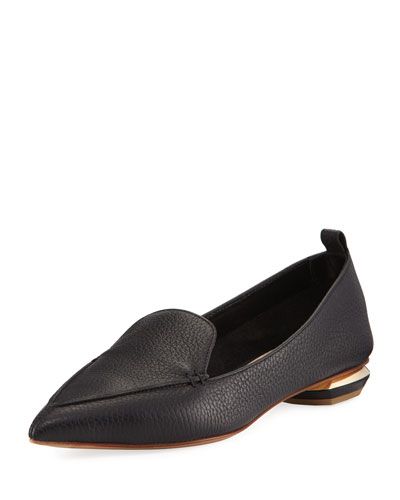 Pebbled Leather Point-Toe Loafer