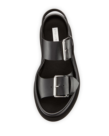 Sandalo Faux-Leather Buckle Sandal, Black