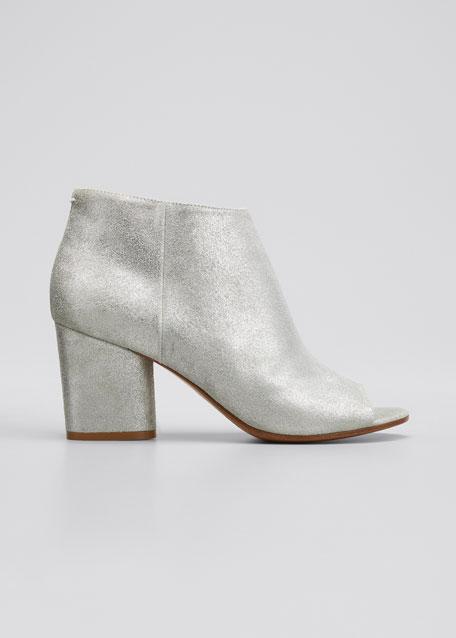 Chunky-Heel Open-Toe Bootie, Silver/Gray