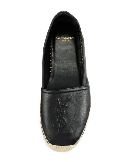 Leather Logo Espadrille Flat, Nero