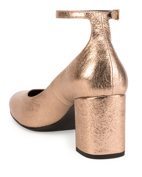 Babies Metallic 70mm Ankle-Wrap Pump, Blush