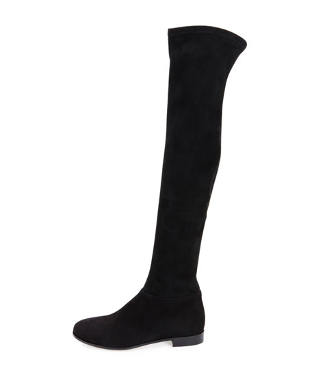 Myren Stretch-Suede Over-the-Knee Boot, Black