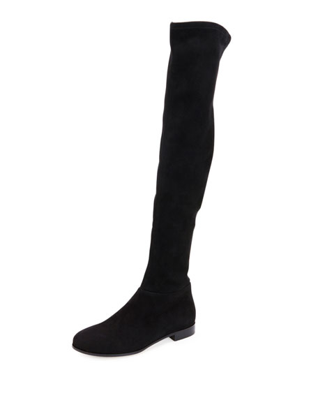 Jimmy Choo Myren Stretch-Suede Over-the-Knee Boot, Black