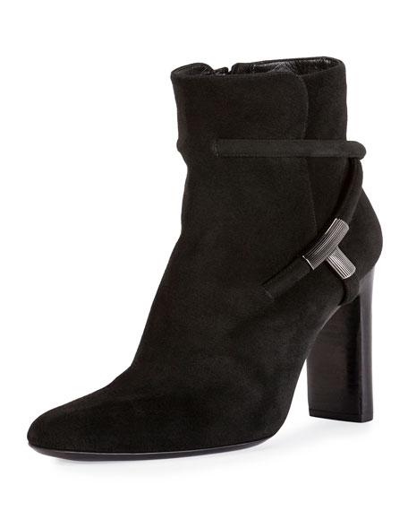 Suede Block-Heel 105mm Boot, Black