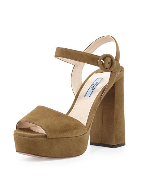 7c41e0af340 Prada Suede Platform Ankle-Strap Sandal