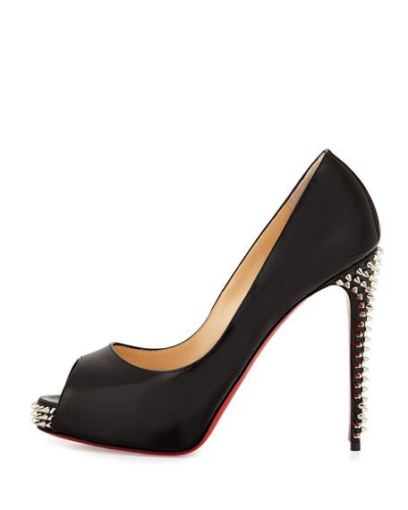 huge discount 16eaf 45391 New Very Prive Studded Peep-Toe Red Sole Pump Black/Silver