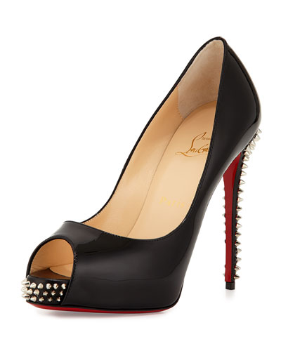 New Very Prive Studded Peep-Toe Red Sole Pump, Black/Silver