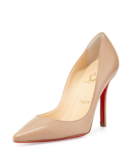official photos 85d05 a2f0c Apostrophy Pointed Red Sole Pump Nude