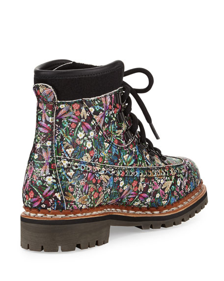 Bexley Floral-Print Leather Boot