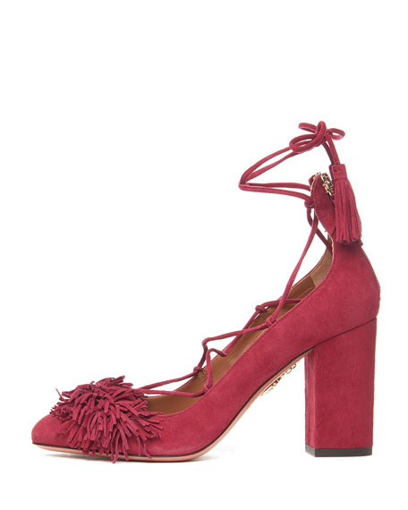 462161ca72e0 Aquazzura Wild Thing Fringed Suede Block-Heel Pump