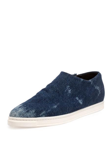 Stella McCartney Nash Denim Slip-On Sneakers, Blue Marine