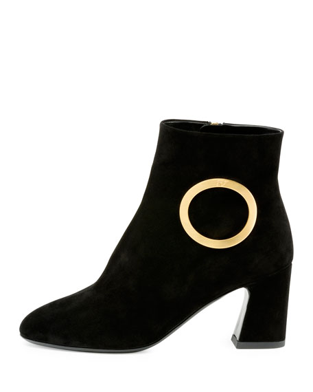 Suede Round-Buckle Chunky-Heel Boot