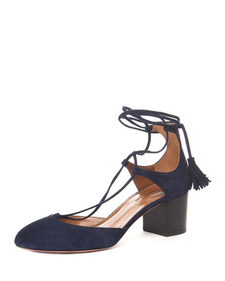 Aquazzura Boheme Suede Ankle-Wrap Pump