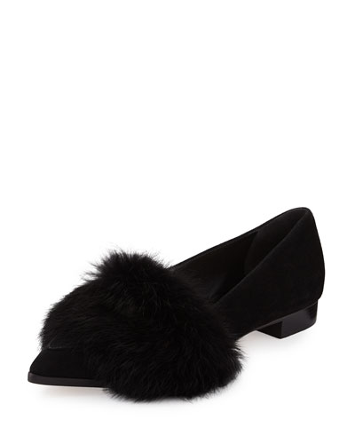 Suede Ballerina Flat w/Rabbit Fur Trim