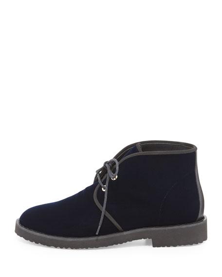Lace-Up Velvet Desert Boot