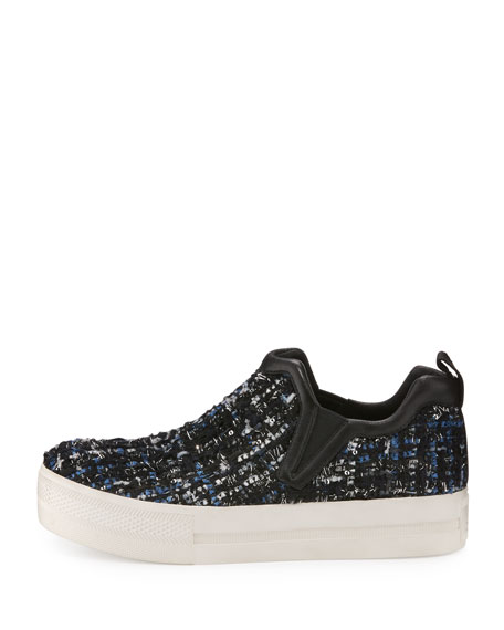 Joy Tweed Platform Skate Sneaker, Black/Blue