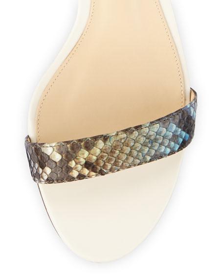 Multicolor Python Ankle-Wrap Sandal, Aquarelle/Ivory